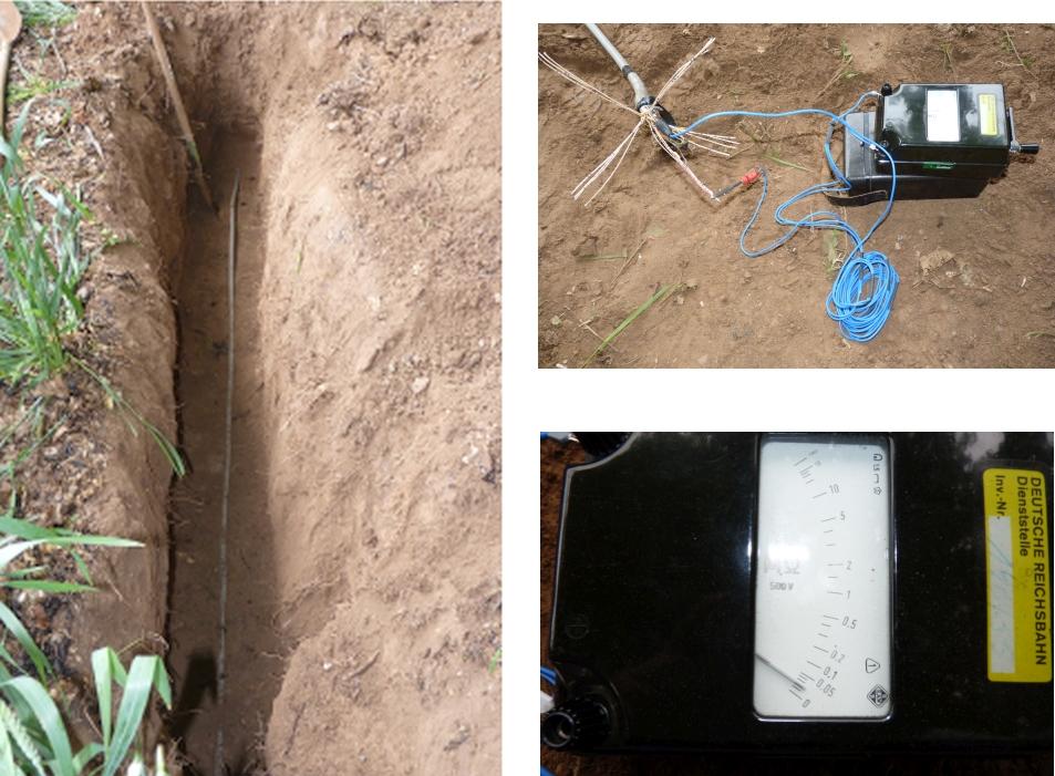 Das freigelegte Kabel bei der Isolationsmessung